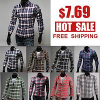 Free Shipping Mens fashion shirts  2013 New arrival  long Sleeve plaid shirt Mens dress shirts size: M-XXL 5015
