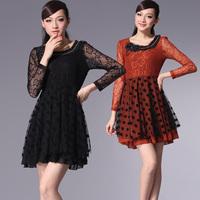 2013 sweet elastic waist o-neck lace jacquard rhinestones dot long-sleeve dress orange