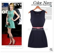 New fashion free shipping women summer-spring OL style sleeveless dress with belt R020