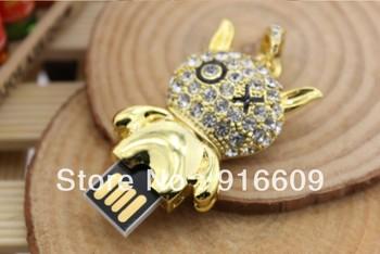 S-72 Wholesale Jewelry Necklace Crystal Glod XO Panda 4GB 8GB 16GB 32GB 64GB USB 2.0 Flash Memory Stick Drive Thumb/Car/Pen Gift