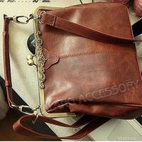 1pcs/lot Fashion New Women's Brown Europe PU Retro Vintage Design Handbag Shoulder Bags Free Shipping fk640215