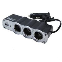 Free Shipping DHL transport  Discount USB 3 way Car Cigarette Lighter Socket Splitter Charger  30pcs/lot