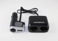 Free shipping car cigarette lighter distributor yi tuo 2 car cigarette lighter one 2 with USB bifurcate WF - 0097  30pcs/lot