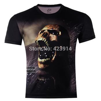 2014 Hot Sale High Quality Horror Skull Printed 3D T-shirts,Black Punk 3D Short Sleeve Tee Shirt XS- 6XL / Free Shipping