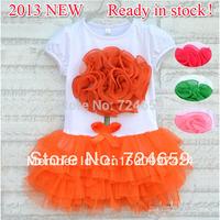 New 1pcs baby girl flower one-piece dress Kids Summer short-sleeve layered dress Children clothes Clothing  AQZ040