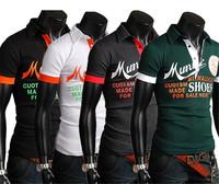 Promotion 2014 New Korean Version Of the Men Influx Of Male Letters Graffiti Design Fashion Slim Short-Sleeved QualityT-Shirt