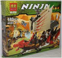 Free Shipping Bela Ninjago Building Blocks Large Dragon Boat(6ninjas)