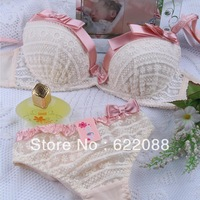 Relief gather sexy underwear big bow the three breasted pendant bra  sets  new Style brassiere Free Shipping