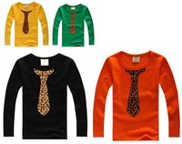 boys tie print t-shirts boy leopard print long sleeve yellow tshirt  free shipping