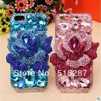 Free shipping,new style phone Case Cover for iphone 4/4s,Exquisite luxury crystal rose, show the elegant demeanor of high-end