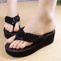 Free shipping 2014 sequins non-slip soles slippers wedges platform beach flip-flops fashion women's slippers