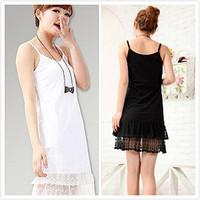 women cotton lace spaghetti strap fashion tank dress ladies one-piece dresses plus size nightgown