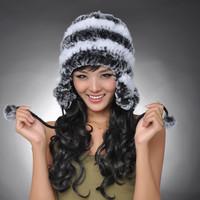 Chopop Fur High quality 2013 winter fur hat ear protector cap rex rabbit fur hats muff earwarmer head wamer with fur balls