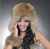 Chopop Fur Best Christmas gift! 2014 Fashion women 100% genuine fox hair hat Russian warm fur cap Free Shipping 8 Color