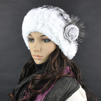 Chopop Fur Casual Fashion 2013 Letze Disk Flowers Rex Rabbit Fur Hat  Handmade Knitted Hat Fur Beret Free Shipping