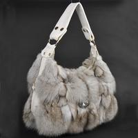 Chopop Fur 2014 Charming Women's Fur fashion fur bag genuine fox fur handbags sliver fox fur handbag Free shipping