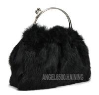 Chopop Fur 2014 Fashion rabbit fur women's handbag High quality genuine rabbit fur handbag small bag 2 Colors in Stock