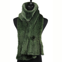Chopop Fur New arrival 2013 mink fur scarf thickening thermal mink flower at both ends muffler scarf green
