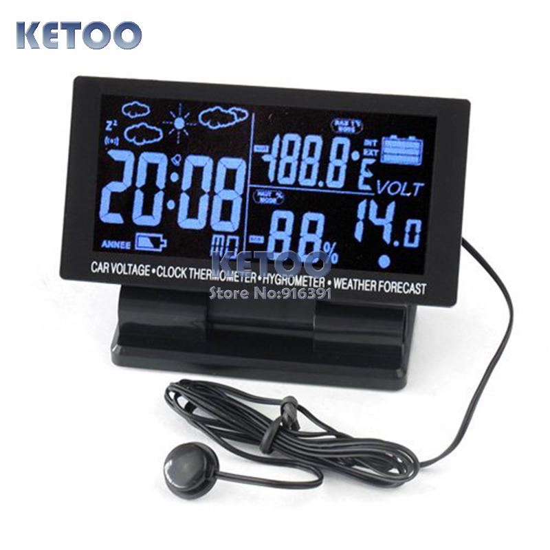 4 в 1 Цифровой Автомобиль Напряжение Монитор ЖК-ДИСПЛЕЙ Термометр Автомобилей Вольт Измеритель Температуры Часы Календарь авто напряжение цифровой жк термометр температуры будильник новый