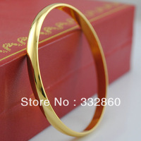 Trendy Women Men 24K Gold Plated Solid Fashion New Plain Casual Jewellery Bangle Bracelet
