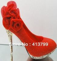 2013 new fashion wedding / banquet / dance / party rose High-heeled shoes/pumps women.High quality red gold pumps.Free shipping