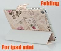 Fasion Petal Folding Stand Leather Case For Ipad Mini 7.9 Rose Envelope 3 Folding Stand Leather Case For Ipad Mini Free Shipping