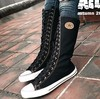 2013 Spring and Autumn long-barreled  side zipper lacing high women's canvas boots canvas shoes C01501