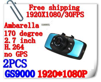 Free Shipping Full HD 1920*1080P 30fps 2.7inch Video Cameras With G-Sensor H.264 HDMI GS9000 Car Black Box(H-19A)