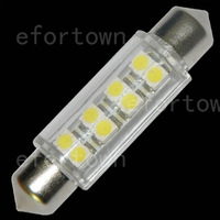"20pcs White Car 1.72"" 42mm 8 Led 3528 SMD Dome Festoon Lights Lamps Bulbs DC 12V good quality shipping free"