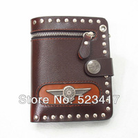 Trendy eagle wings PU leather wallets Cool fashion unisex rivets punk leather wallets wholesale stylish rocker wallets purses