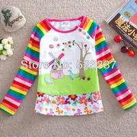 FREE SHIPPING F1411#18m-6y 5piece/lot with printed  beautiful flowers spring / autumn  long sleeve T-shirt for girl