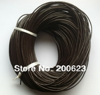 2mm Round Real Leather Cord Jewelry Rope Wholesale For Necklace Bracelet DIY Jewelry Making Black / Dark Brown 100M/Lot