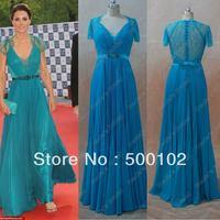 Celebrity Dresses Kate Middleton A Line V Neck Cap Sleeves Sheer Lace Red Carpet Gown Beaded Lady Dresses