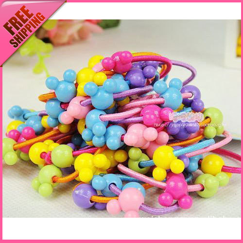 Free shipping baby rubber band hair rope headband child hair Mickey hair bands accessory female child accessories hair tie(China (Mainland))