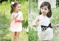 New arrival girls evening dress party dress pink&white rose flower girl dresses with big bowknot fashion one-shoulder dresses