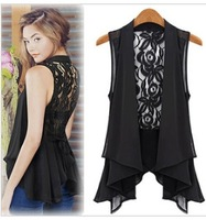 Free shipping 2013 Women Summer Sleeveless Sexy Chiffon+lace Blazers , Fashion Maxi Size Ladies Coat L XL 2XL 3XL 4XL 5XL 6XL