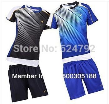 wholesale!Original edition New 2012 South Korea Olympic race suit VICTOR Mens Badminton / Tennis Shirts+Shorts  Black/Blue