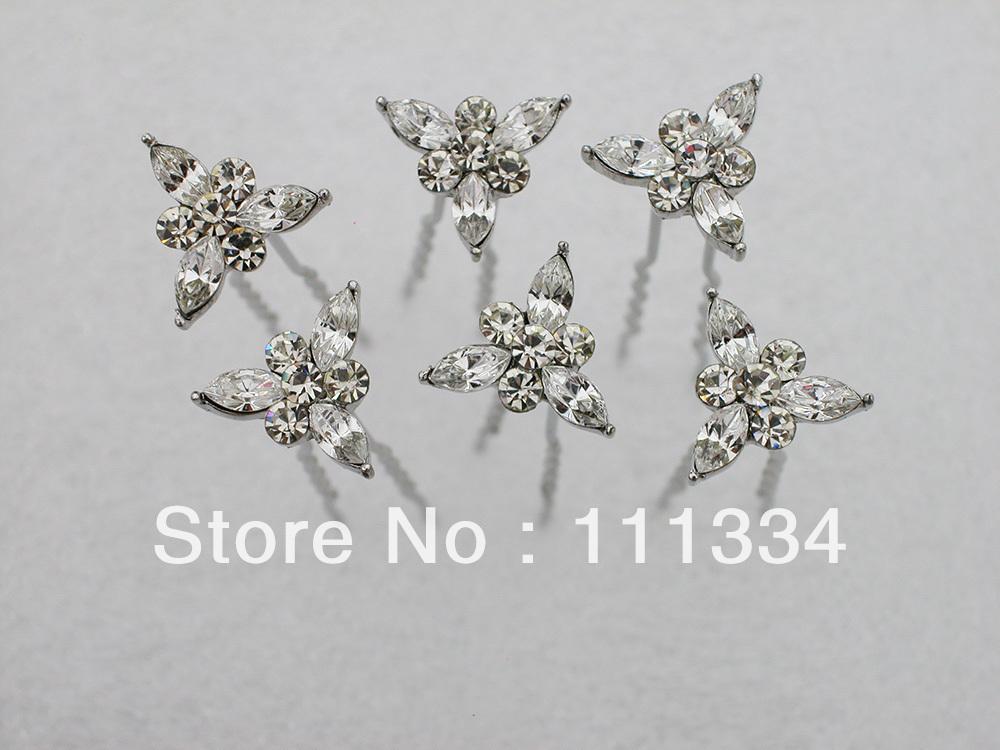 6 pcs / pack * 12 pack Crystal Rhinestone Bride Bridesmaid Wedding Hair hairpin B026(China (Mainland))