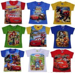 Free shipping T-shirt Child cartoon short-sleeve Thomas summer clothes, Spider-Man Toy Story Boys short-sleeved.(China (Mainland))