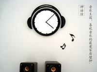 Music theme headphone shape wall clock acrylic material silent movement unique image