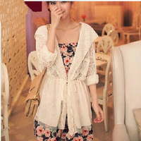 Free Shipping  New Arrival 52013 Women Long Sleeve Lace Jackets, Big Size Summer  fashion Coat L XL 2XL 3XL 4XL 5XL 6XL