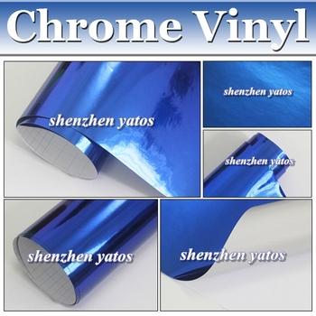 Blue Mirror Chrome Foil Gloss Vinyl - Auto Car Wrap Film Air Free