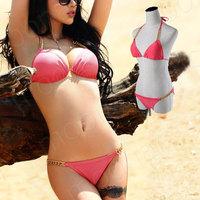 Sexy Pink 2 pcs/set Halter Bikini set Hot bikin swimsuit Summer bechwear Monokini Fission a bathing suit  with Metal China YY059