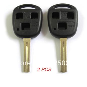 2PCS UNCUT Remote Key Shell Case FOB For LEXUS ES300 GS LS IS LX470 RX 3 Buttons