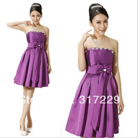 New Fashion Ladies Korean Style Bra Bow Purple Graceful Short Diamond Evening Party Dress FZ161