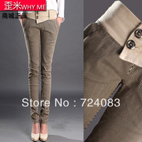 Meters clothing autumn and winter women stripe trousers butt-lifting skinny pants female slim pencil pants cotton cloth