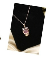 promotions fashion cute Maneki Neko short necklace cat's eye jewelry Free Shipping HeHuanXL254