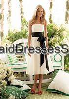 Hot Sale Summer Simple A-line Strapless Chiffon White And Black Short Tea-length Bridesmaid Dress Free Shipping(BM0100345)