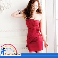 2013 New Spring Strapless Woman Evening Dress Red Color Sexy Dress