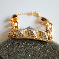 2013 New Trendy Gold Plated Punk Rivet Full Rhinestone Bracelet  Free Shipping, A2630
